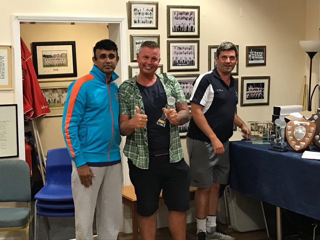 Fourth team player of the year Rob Wood, right, with Gopa Nair